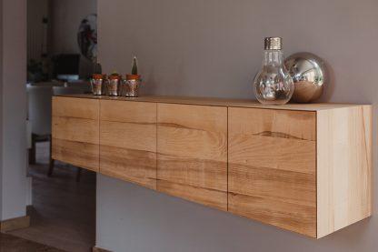 Sideboard supendu frêne de coeur lignes de fuite perspective meuble bois naturel écologique